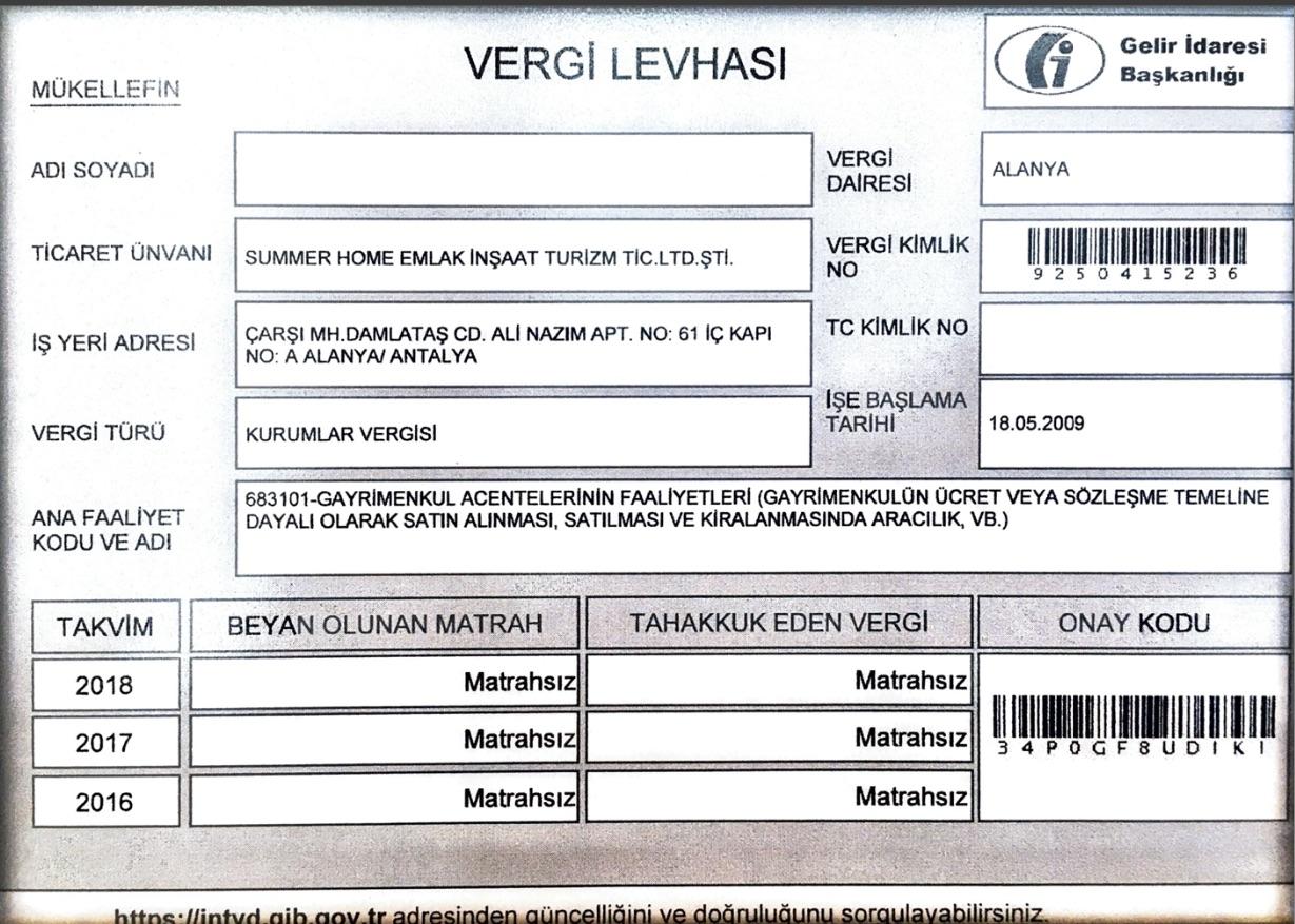 Лицензия с налоговым номером summerhome