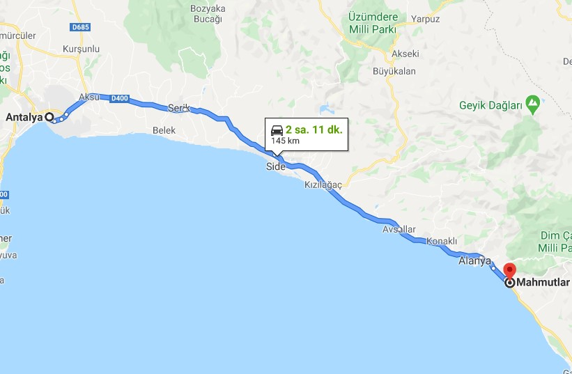 Distance to Antalya