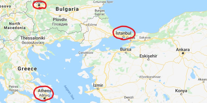 Map of Istanbul and Bulgaria