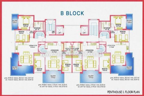 Large Apartments for Sale in Alanya - Property Plans - 17