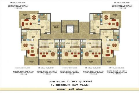 1-Bedroom Sea View Apartment in Lory Queen in Alanya - Property Plans - 49