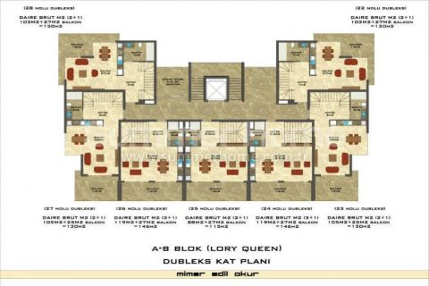 1-Bedroom Sea View Apartment in Lory Queen in Alanya - Property Plans - 53