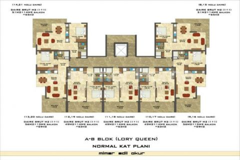1-Bedroom Sea View Apartment in Lory Queen in Alanya - Property Plans - 54