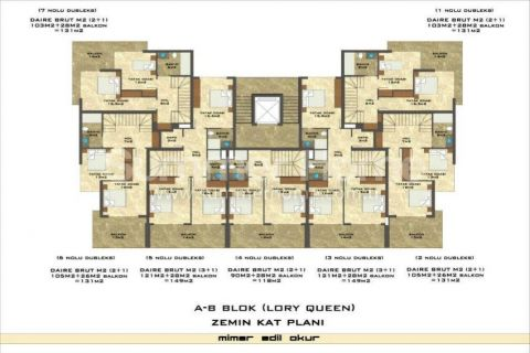 1-Bedroom Sea View Apartment in Lory Queen in Alanya - Property Plans - 55