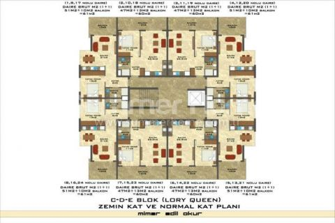 1-Bedroom Sea View Apartment in Lory Queen in Alanya - Property Plans - 59