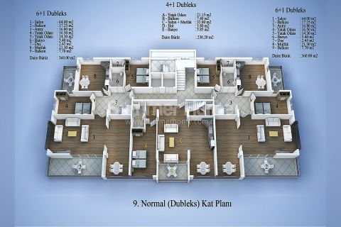 Современные апартаменты в Алании - Планировка  - 14