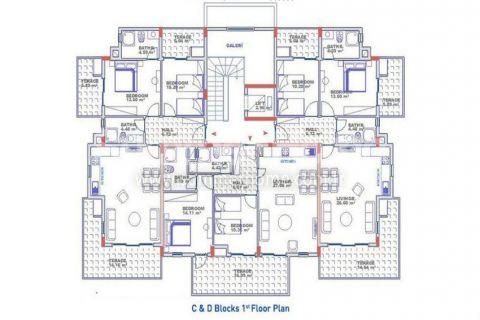 Exkluzívne apartmány s výhľadom na more v Alanyi - Plány nehnuteľností - 21