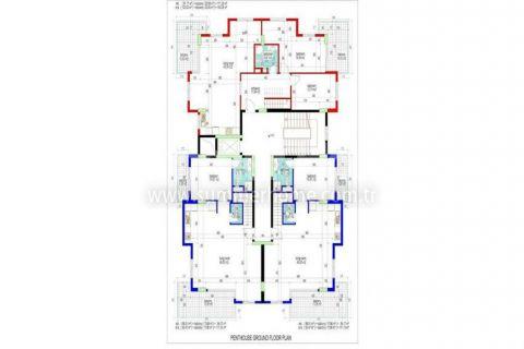 Veľké apartmány s výhľadom na more v Alanyi - Plány nehnuteľností - 33