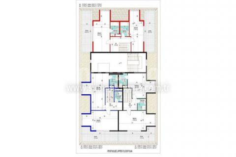Veľké apartmány s výhľadom na more v Alanyi - Plány nehnuteľností - 34
