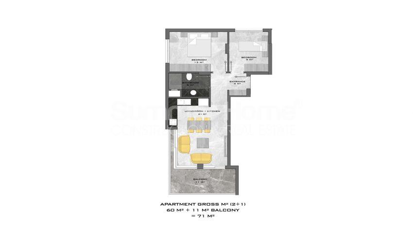 阿拉尼亚中心的全新公寓,位置理想 plan - 1