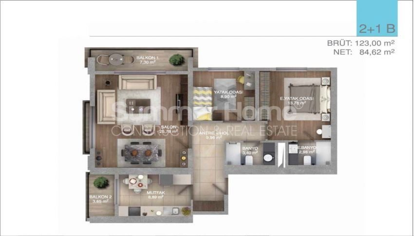 伊斯坦布尔中心的五星级标准的优价公寓 plan - 3