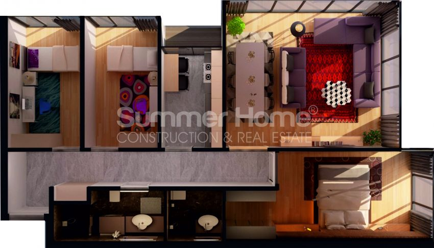 آپارتمان ها با قیمت مناسب و امکانات عمومی در استانبول مرکزی plan - 1