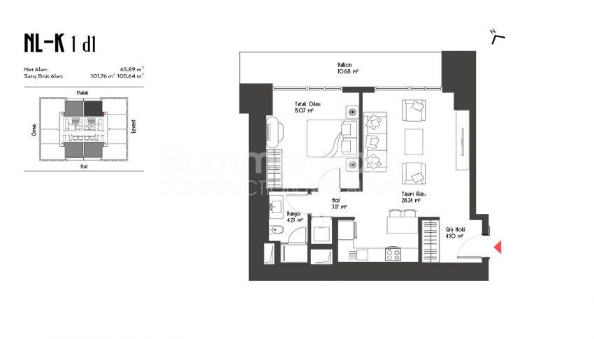 伊斯坦布尔市中心的设计豪华的城市美景公寓 plan - 1