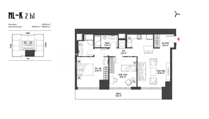 伊斯坦布尔市中心的设计豪华的城市美景公寓 plan - 2