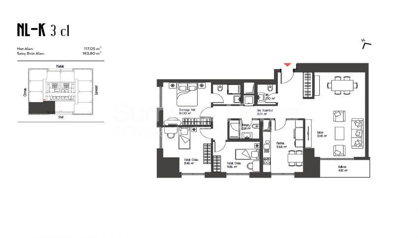 伊斯坦布尔市中心的设计豪华的城市美景公寓 plan - 3