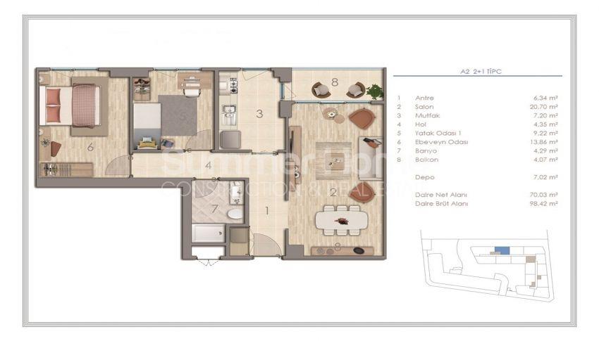 آپارتمان دوست داشتنی در نزدیکی همه امکانات در منطقه جذاب استانبول plan - 1