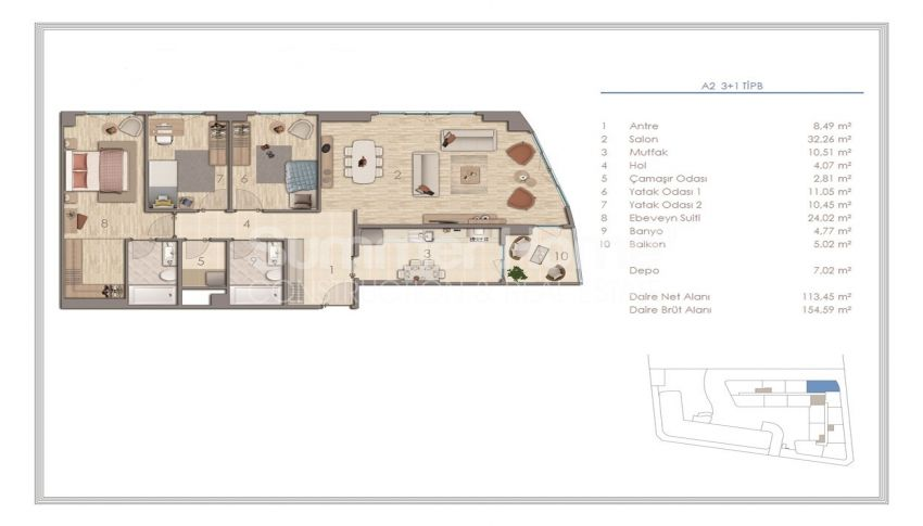 آپارتمان دوست داشتنی در نزدیکی همه امکانات در منطقه جذاب استانبول plan - 2