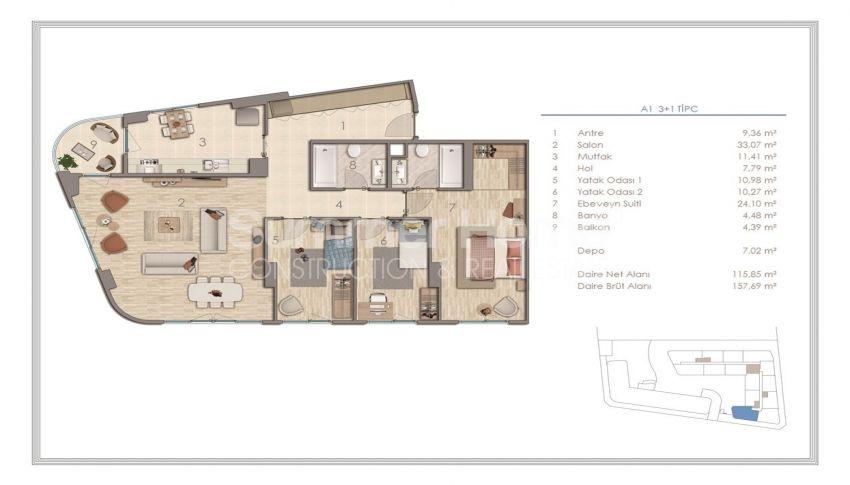 آپارتمان دوست داشتنی در نزدیکی همه امکانات در منطقه جذاب استانبول plan - 3