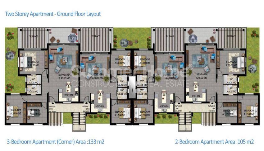 آپارتمان های لوکس با استخر بی نهایت در موقعیت هیل در اسنتپه، قبرس شمالی plan - 3