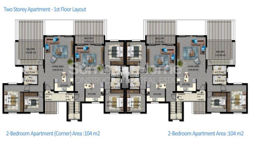 آپارتمان های لوکس با استخر بی نهایت در موقعیت هیل در اسنتپه، قبرس شمالی plan - 4