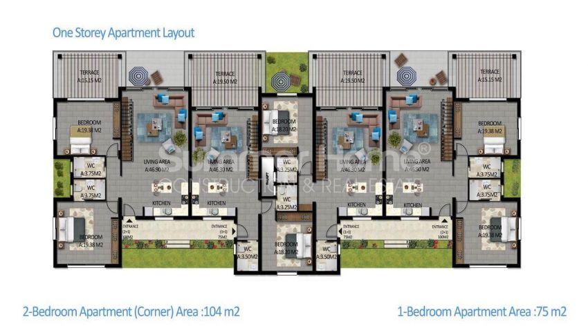 آپارتمان های لوکس با استخر بی نهایت در موقعیت هیل در اسنتپه، قبرس شمالی plan - 5
