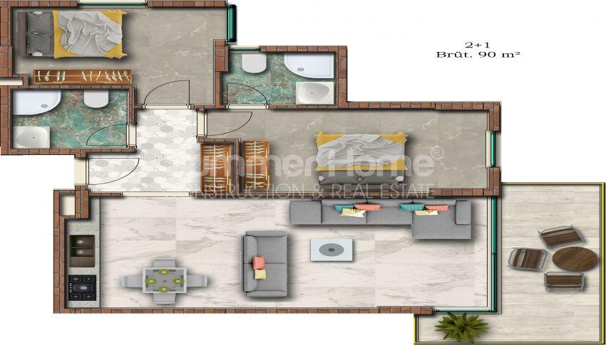Hoge kwaliteit appartementen met een geweldig uitzicht op zee, strandzijde in Alanya Mahmutlar plan - 1