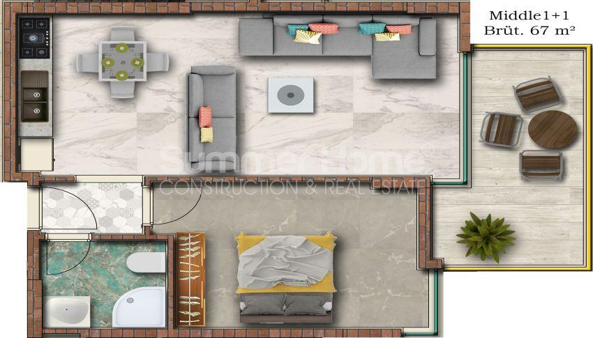 Hoge kwaliteit appartementen met een geweldig uitzicht op zee, strandzijde in Alanya Mahmutlar plan - 2
