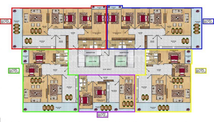 Wohnungen in Mahmutlar, Alanya zum Verkauf: Modern und neu gestaltet plan - 1
