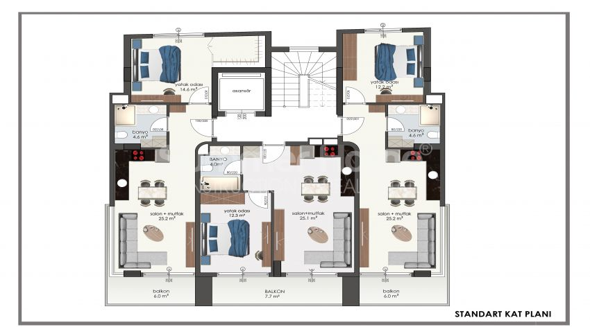 آپارتمانهای مقرونبهصرفه در مرکز آلانیا plan - 1
