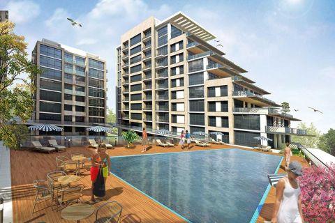 Luxueus complex met appartementen met onbeperkt uitzicht op zee in Buyukcekmece, Istanbul