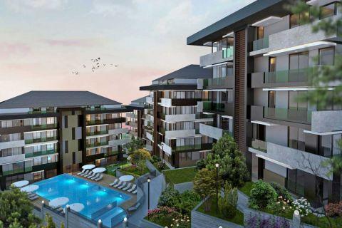 Gloednieuwe appartementen te koop in de buurt van het Istanbul handelscentrum in Maslak, Istanbul