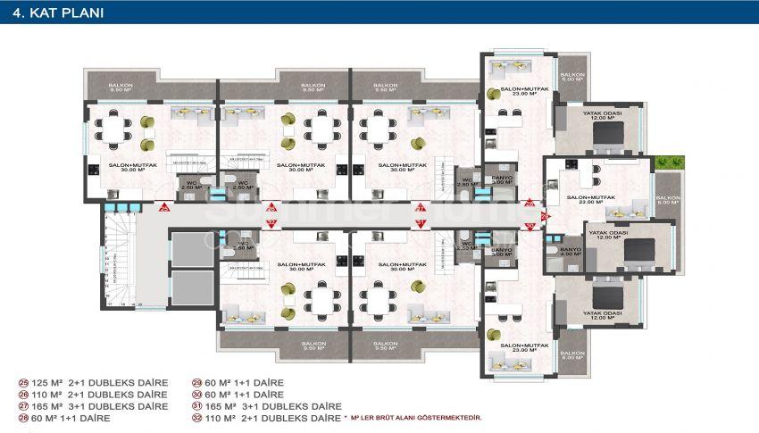 Elegante Meerblick-Wohnungen in Kargicak, Alanya plan - 2
