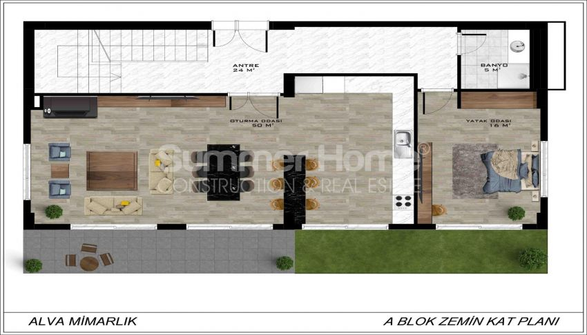 Geräumige Villa mit Meerblick in Bektaş plan - 2