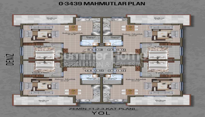 Brandneue Apartments in einer günstigen Gegend in Mahmutlar plan - 1