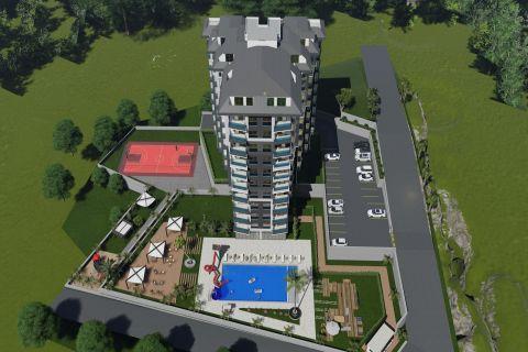 Upea kompleksi, jossa on monia asuntoja myytävänä Avsallarissa