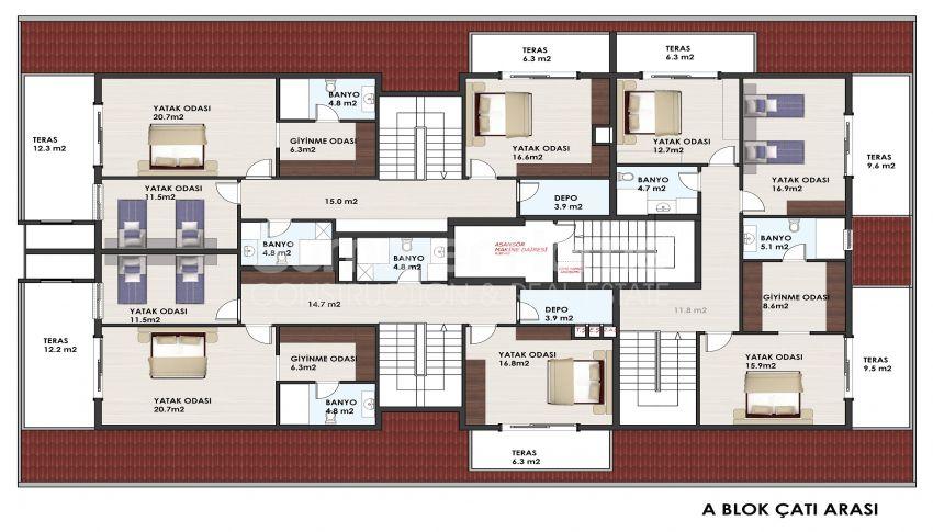 آپارتمانهای متنوع در مجموعهای در مرکز آلانیا plan - 1