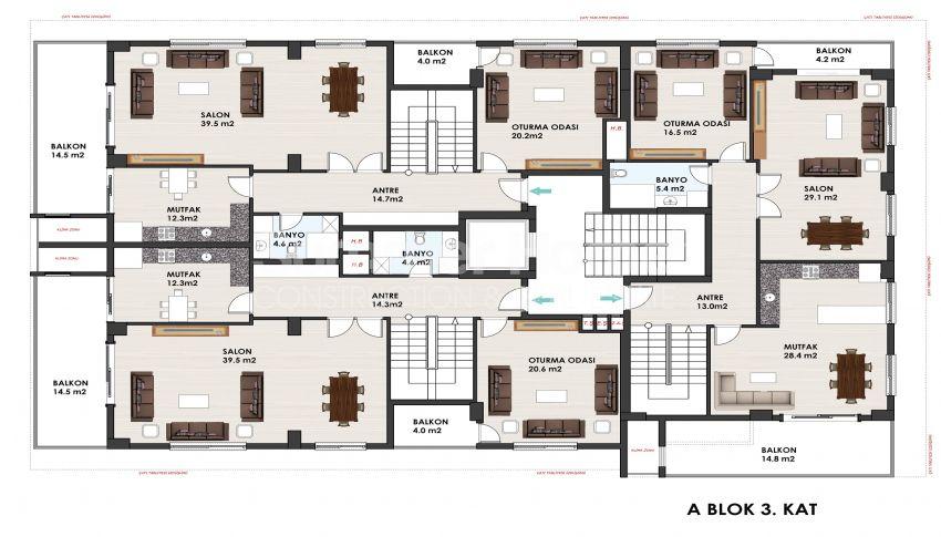 آپارتمانهای متنوع در مجموعهای در مرکز آلانیا plan - 4